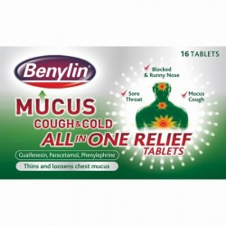 BENYLIN MUCUS COUGH & COLD ALL IN ONE RELIEF TABS 16'S