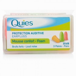 QUIES FOAM EAR PLUGS 3 PAIRS