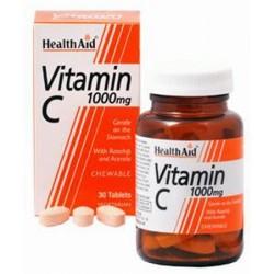 HEALTH AID VITAMIN C 1000MG CHEABLE 30TABLETS